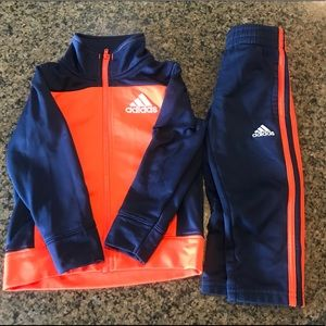 NWOT Blue & Orange Boys Adidas Track Suit